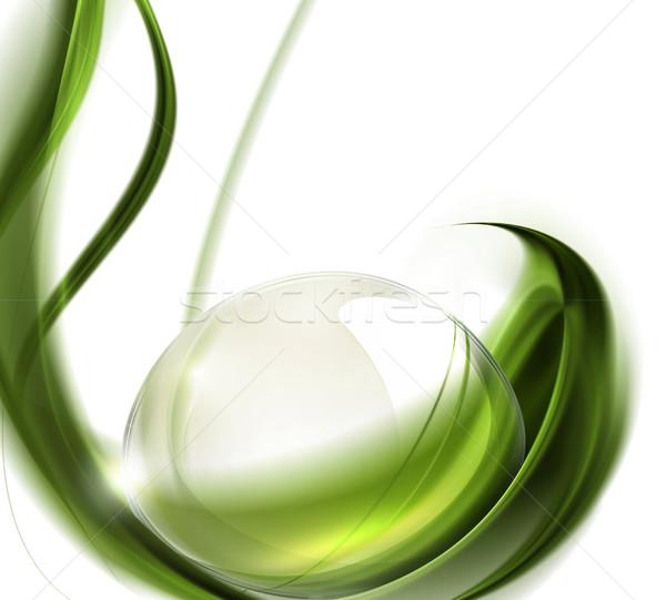 Drop dew green leaf Gras Sommer Stock foto © zven0