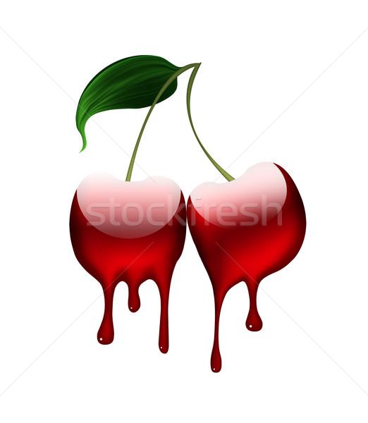Płynnych wiśniowe biały zdrowia tle pić Zdjęcia stock © zven0