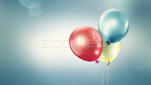 Foto stock: Três · diferente · balões · luz · turva
