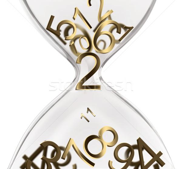 Zaman dizayn kum saati sayılar iş cam Stok fotoğraf © zven0
