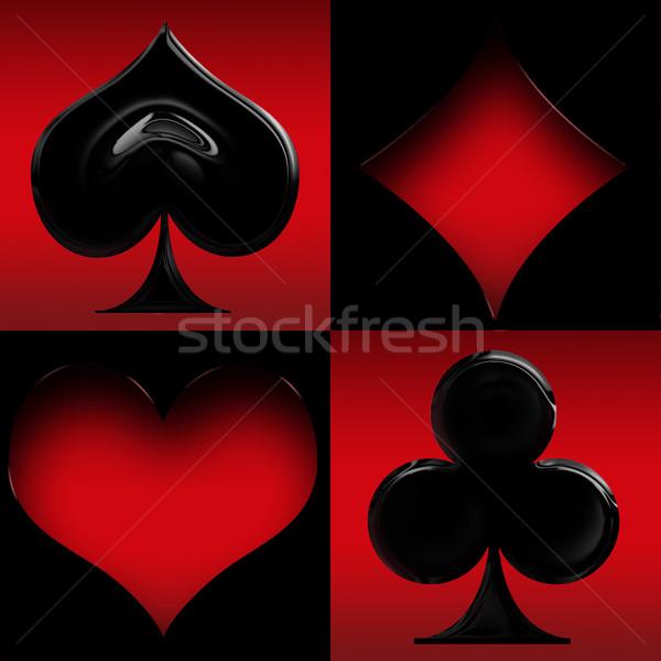Czerwony czarny karty garnitury ramki serca Zdjęcia stock © zven0