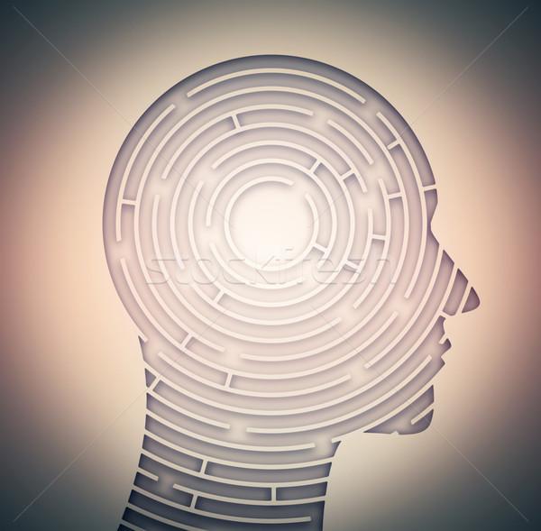 Doolhof geest abstract silhouet menselijke gezicht Stockfoto © zven0