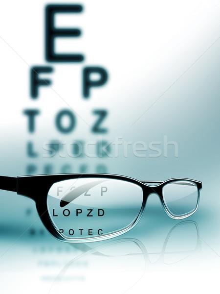 Examen de la vista gafas tabla medicina azul lectura Foto stock © zven0