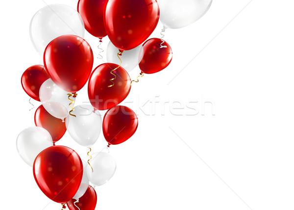 Kırmızı beyaz balonlar dizayn şerit Stok fotoğraf © zven0