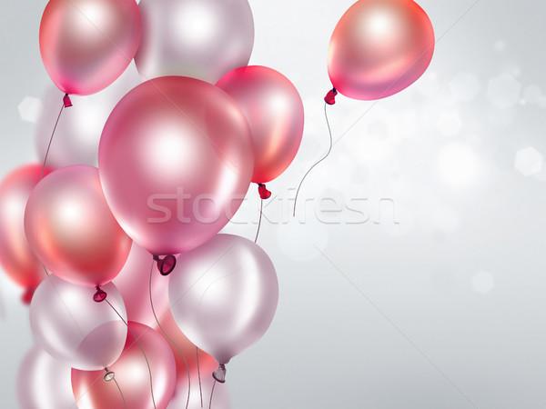 Różowy balony tle zabawy czerwony Zdjęcia stock © zven0