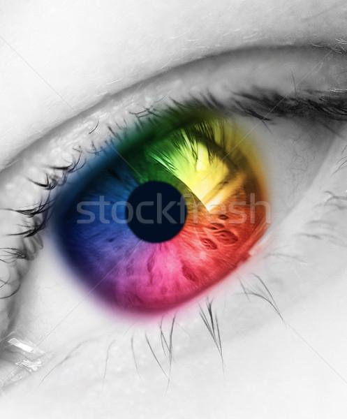 Сток-фото: радуга · глаза · ярко · цвета · молодые