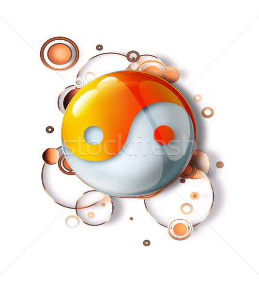 Yin yang szimbólum absztrakt minta felirat fehér Stock fotó © zven0