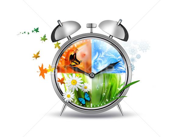Czasu budzik cztery pory roku obraz działalności wiosną Zdjęcia stock © zven0