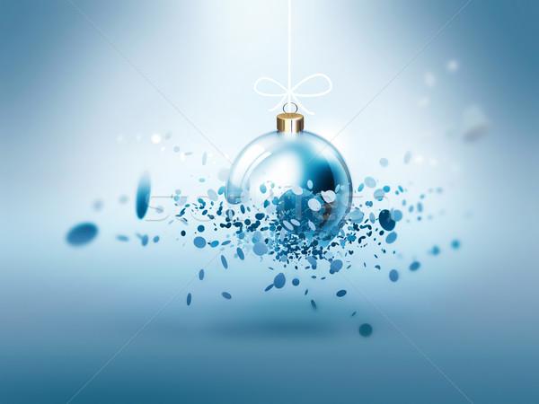 Christmas feestelijk bal sneeuw achtergrond Stockfoto © zven0