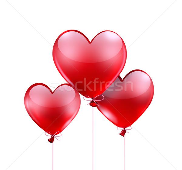 Stockfoto: Rood · hart · ballonnen · vorm · gelukkig · achtergrond
