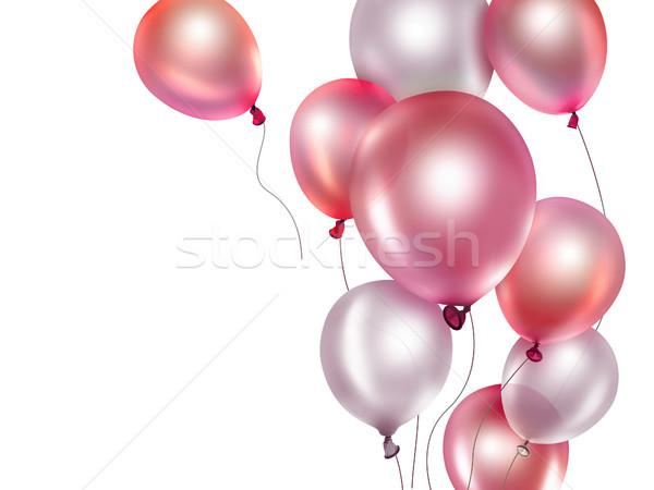 Czerwony balony szczęśliwy projektu grupy Zdjęcia stock © zven0