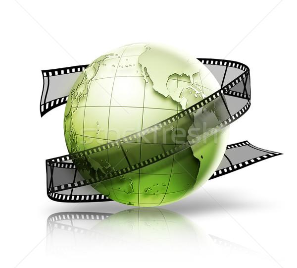 Wereldbol filmstrip witte kaart abstract groene Stockfoto © zven0