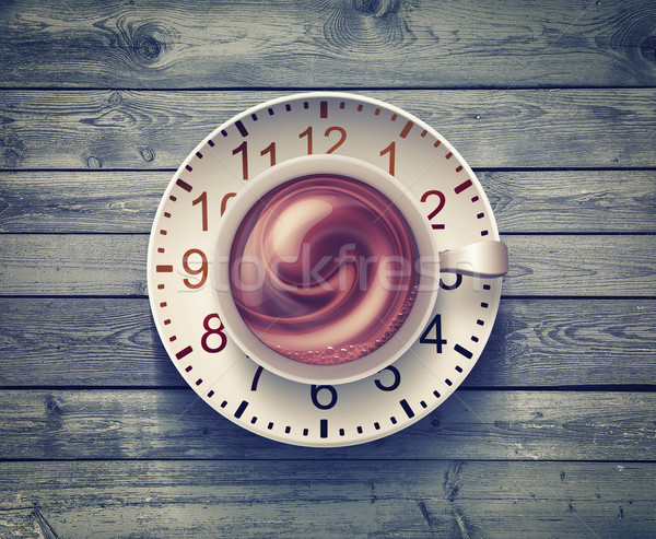 Kávésbögre óra fából készült felület kávé absztrakt Stock fotó © zven0