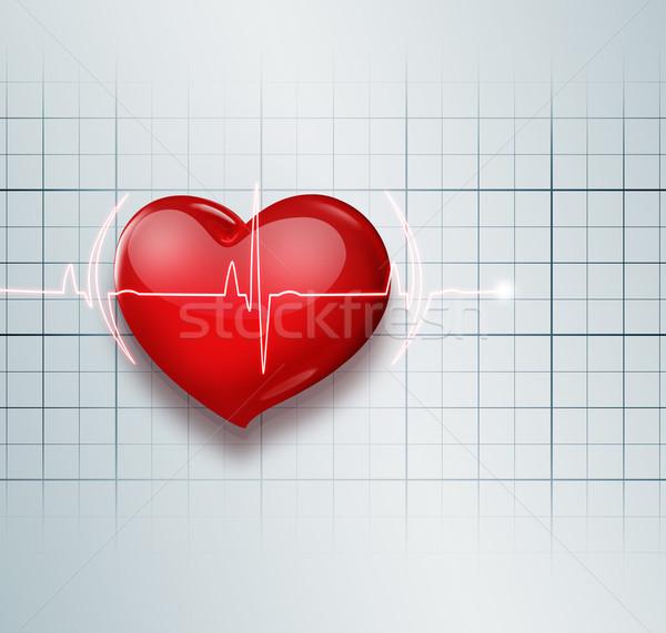 Stok fotoğraf: Tıbbi · kırmızı · kalp · nabız · sevmek · arka · plan