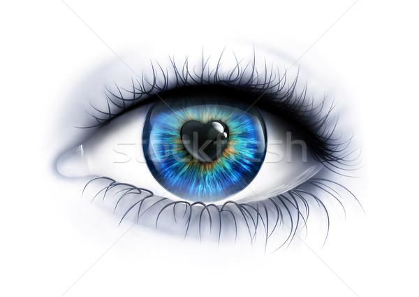 Liebevoll aussehen Auge Herz Gesundheit Stock foto © zven0