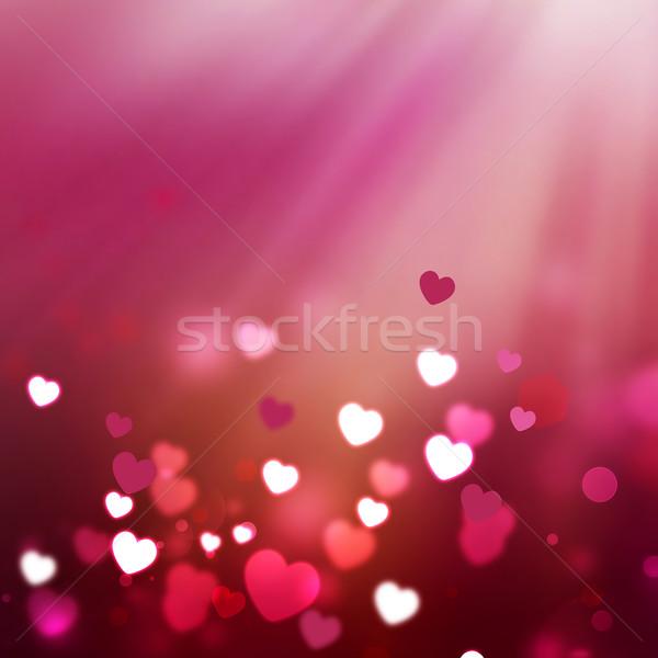Romántica brillante corazones amor noche patrón Foto stock © zven0