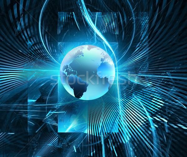 Fütüristik teknoloji soyut dünya dünya ışık Stok fotoğraf © zven0