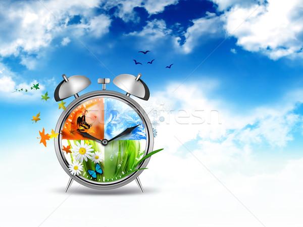 Zaman görüntü çalar saat four seasons iş bahar Stok fotoğraf © zven0