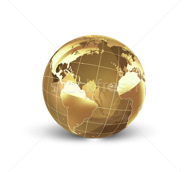Złoty świat biały świecie Pokaż podróży Zdjęcia stock © zven0