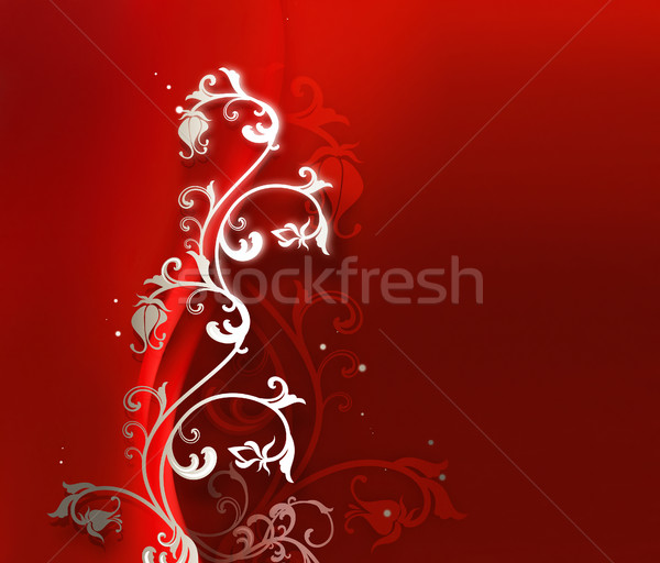 abstract red background with floral ornament Stock photo © zven0