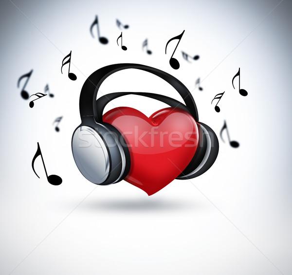 音楽 赤 中心 ヘッドホン デザイン ストックフォト © zven0