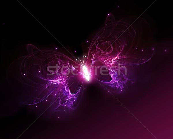 Glühend Schmetterling lila dunkel Licht Kunst Stock foto © zven0