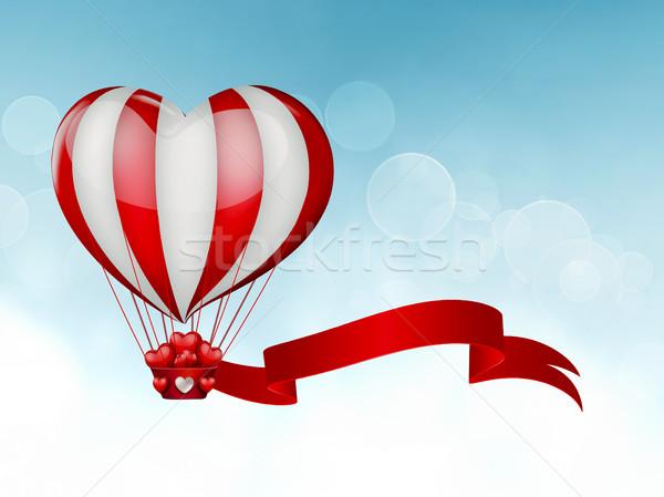Сток-фото: сердце · воздушном · шаре · форма · небе · свадьба · счастливым