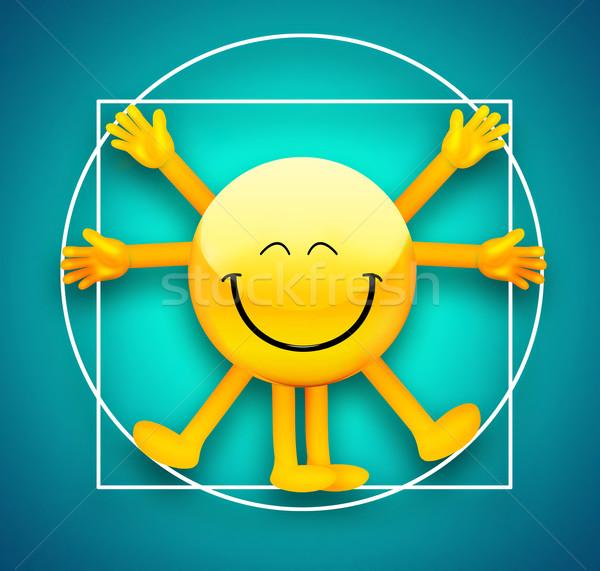 Emoticon man medische lichaam gezondheid schilderij Stockfoto © zven0