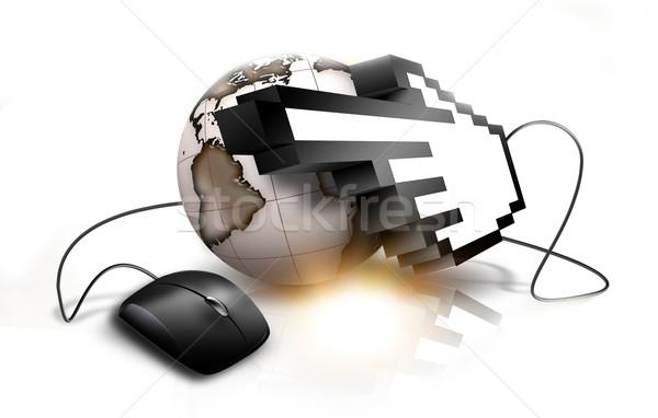 Internet kéz kurzor bolygó technológia háttér Stock fotó © zven0