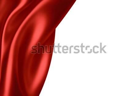 Rojo seda olas tela bandera tejido Foto stock © zven0