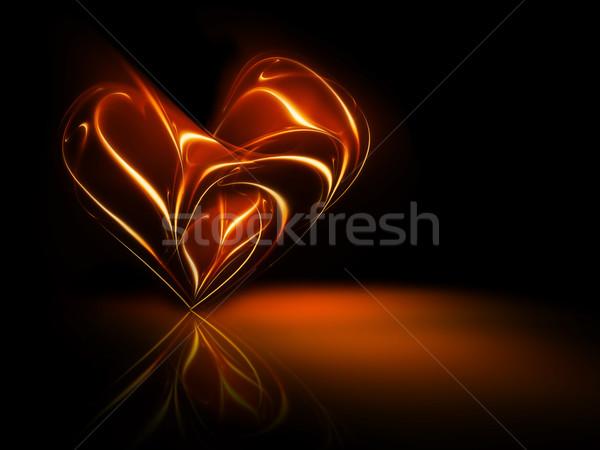 Ardiente corazón resumen fuego marco naranja Foto stock © zven0