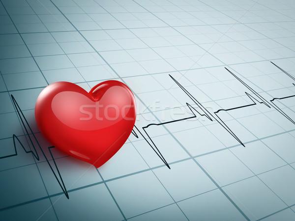 Electrocardiograma gráfico brillante rojo corazón tecnología Foto stock © zven0