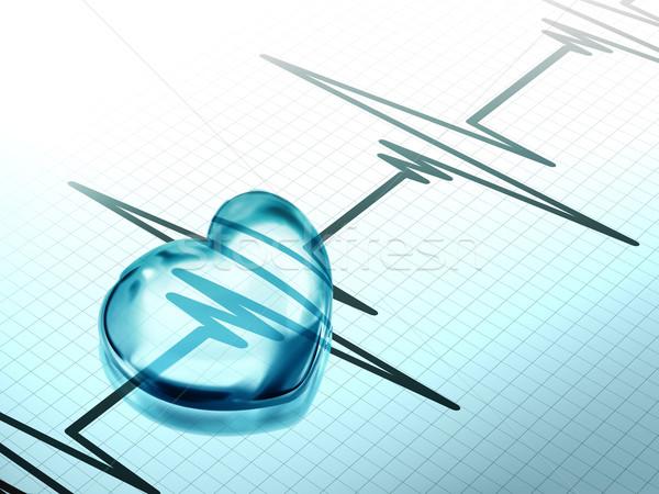 Przezroczysty niebieski serca elektrokardiogram wykres Zdjęcia stock © zven0