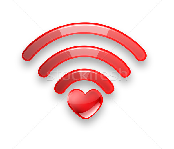 Red symbol of the free Wi fi  Stock photo © zven0
