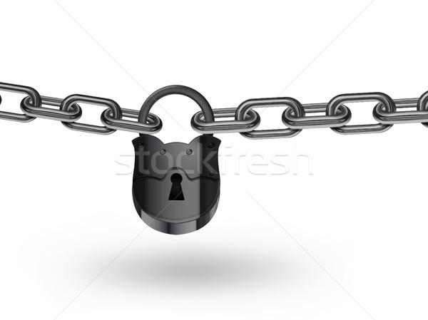 łańcucha kłódki biały streszczenie przemysłowych czarny Zdjęcia stock © zven0