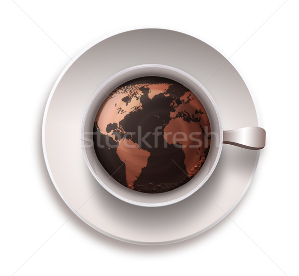coffee cup with a world map Stock photo © zven0
