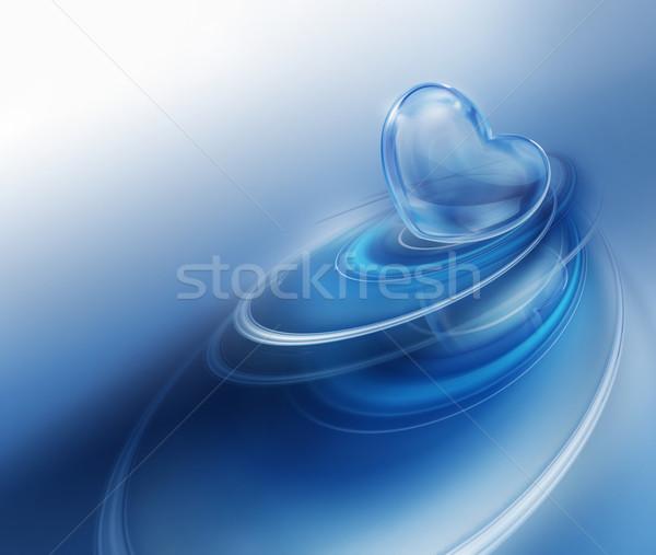 Ijzig hart Blauw water liefde paar Stockfoto © zven0