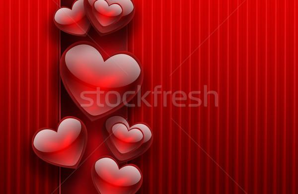 Romantyczny czerwony serca miłości karty wzór Zdjęcia stock © zven0