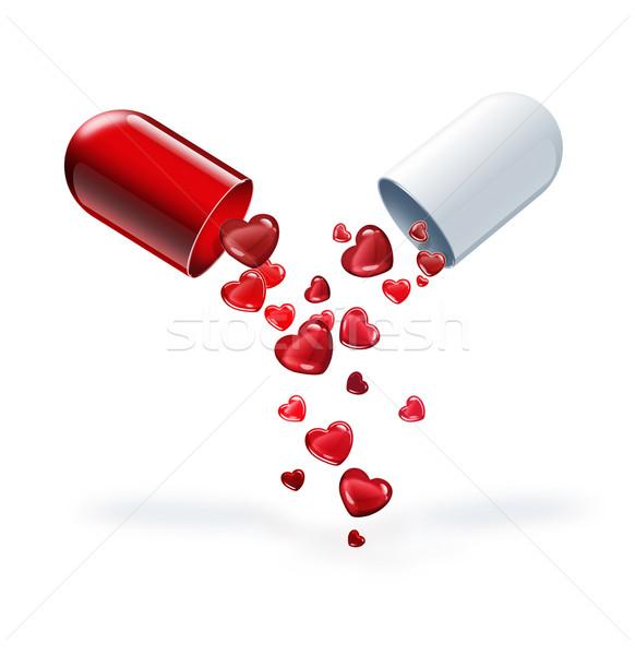 Foto stock: Píldora · amor · rojo · corazones · luz · corazón