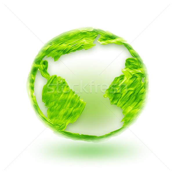 Zöld világ absztrakt terv festék háttér Stock fotó © zven0