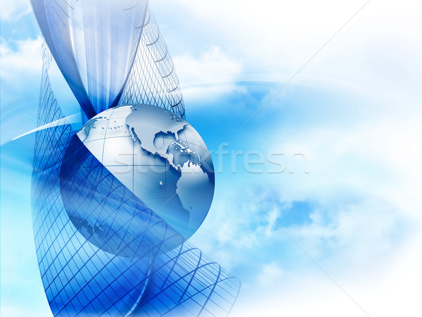 Działalności nowoczesne planety niebieski świecie Pokaż Zdjęcia stock © zven0
