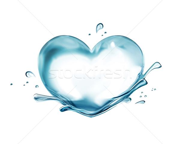água coração branco abstrato vidro beber Foto stock © zven0