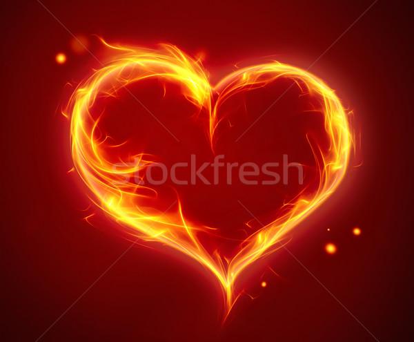 Brillante ardiente corazón rojo fuego resumen Foto stock © zven0