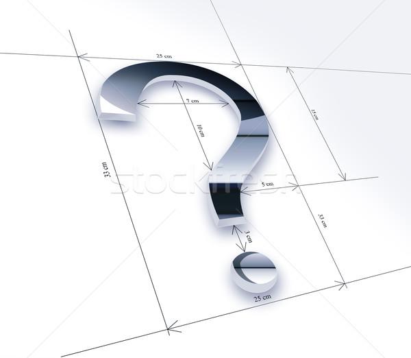Tanulás kérdés fémes kérdőjel mér rajz Stock fotó © zven0