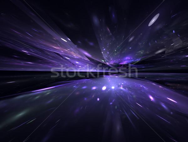 Frattale orizzonte futuristico luce design nero Foto d'archivio © zven0