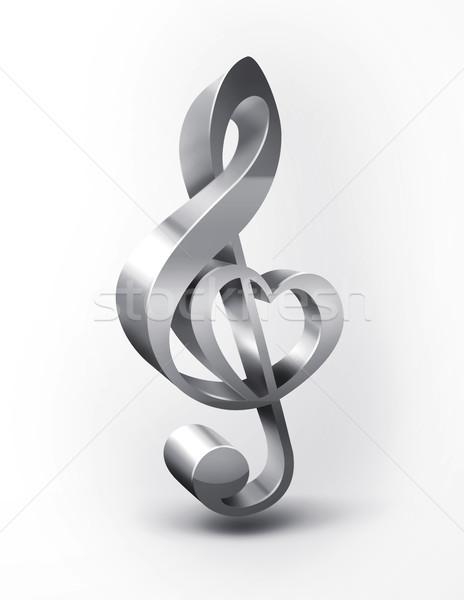 Stock fotó: Fém · violinkulcs · forma · szív · terv · festmény