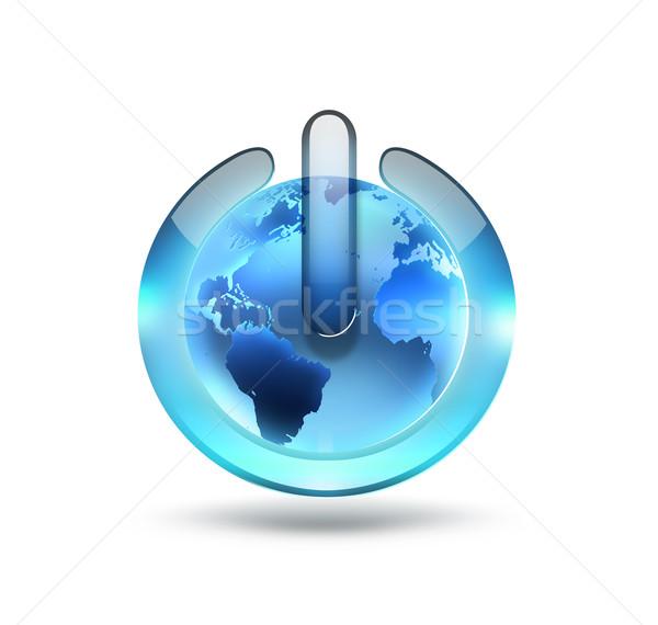 Világ erő gomb fehér üzlet internet Stock fotó © zven0