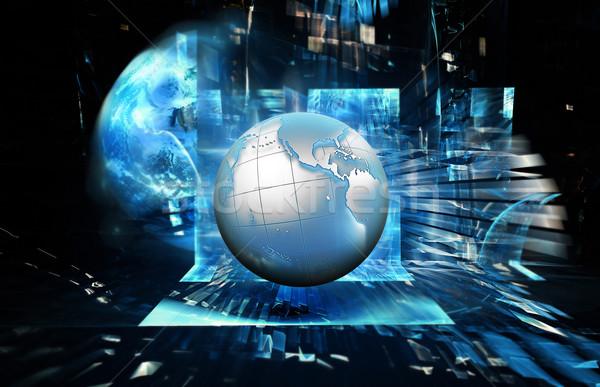 Soyut teknoloji mavi gezegen bilgisayar Internet Stok fotoğraf © zven0