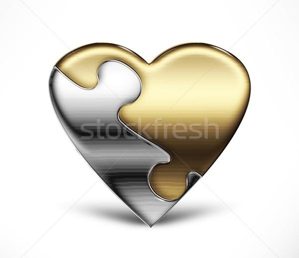 Puzzle serca metal dwa świetle Zdjęcia stock © zven0
