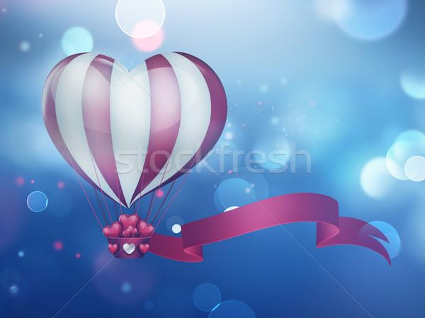 Stock photo: heart hot air balloon